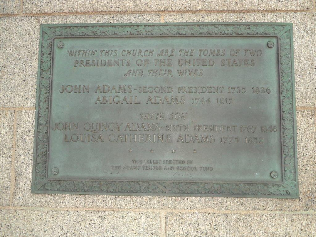 United First Parish Church - site of John and John Quincy Adams grave