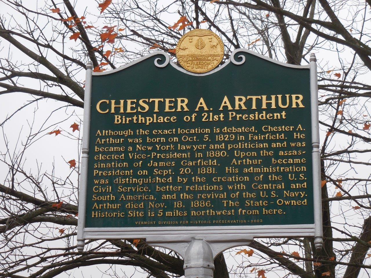 photo of Chester Arthur's birthplace