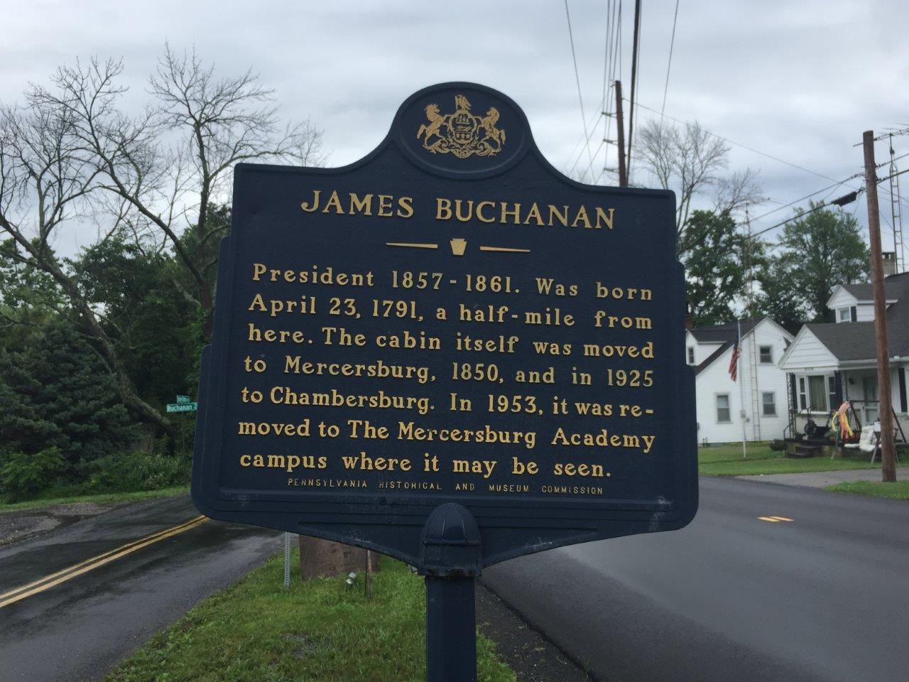 photo of James Buchanan birthplace historical marker