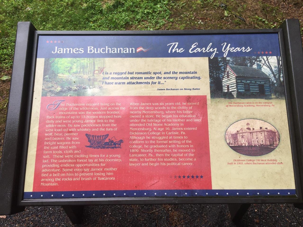 photo of James Buchanan's birthplace marker