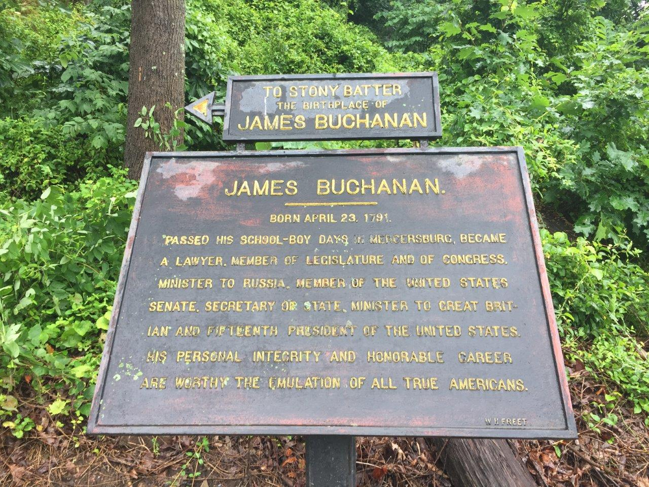 James Buchanan's birthplace sign to stony batter