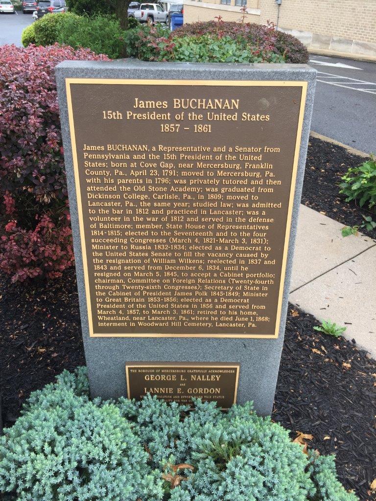 James Buchanan statue in Mercersburg, Pennsylvania