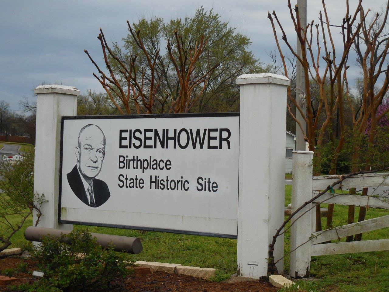 Dwight Eisenhower birthplace state historic site sign