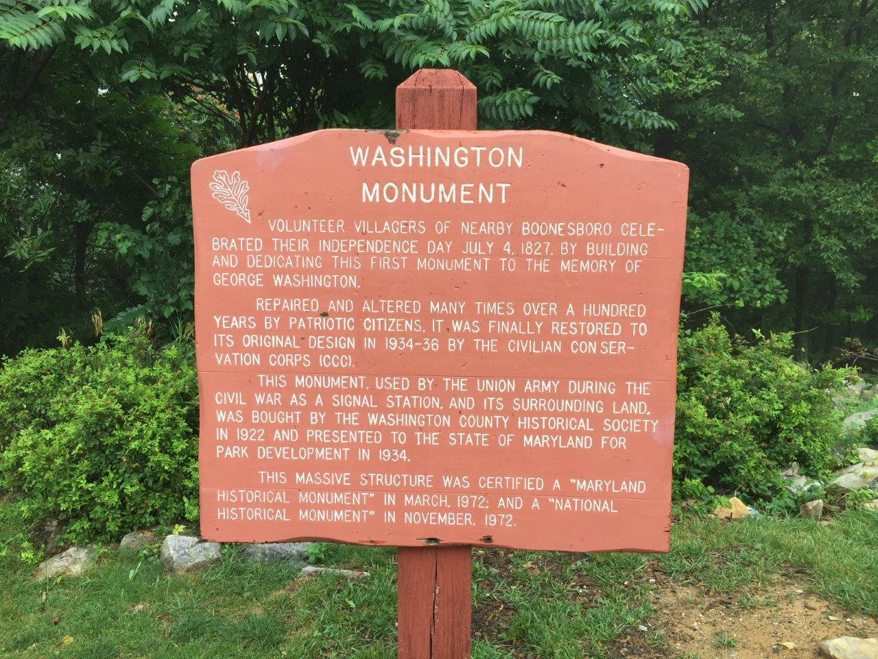 First George Washington monument in Boonsboro, Maryland