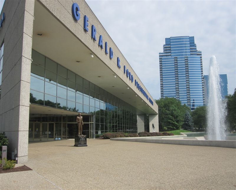 Gerald Ford Statue and Ford Museum in Grand Rapids