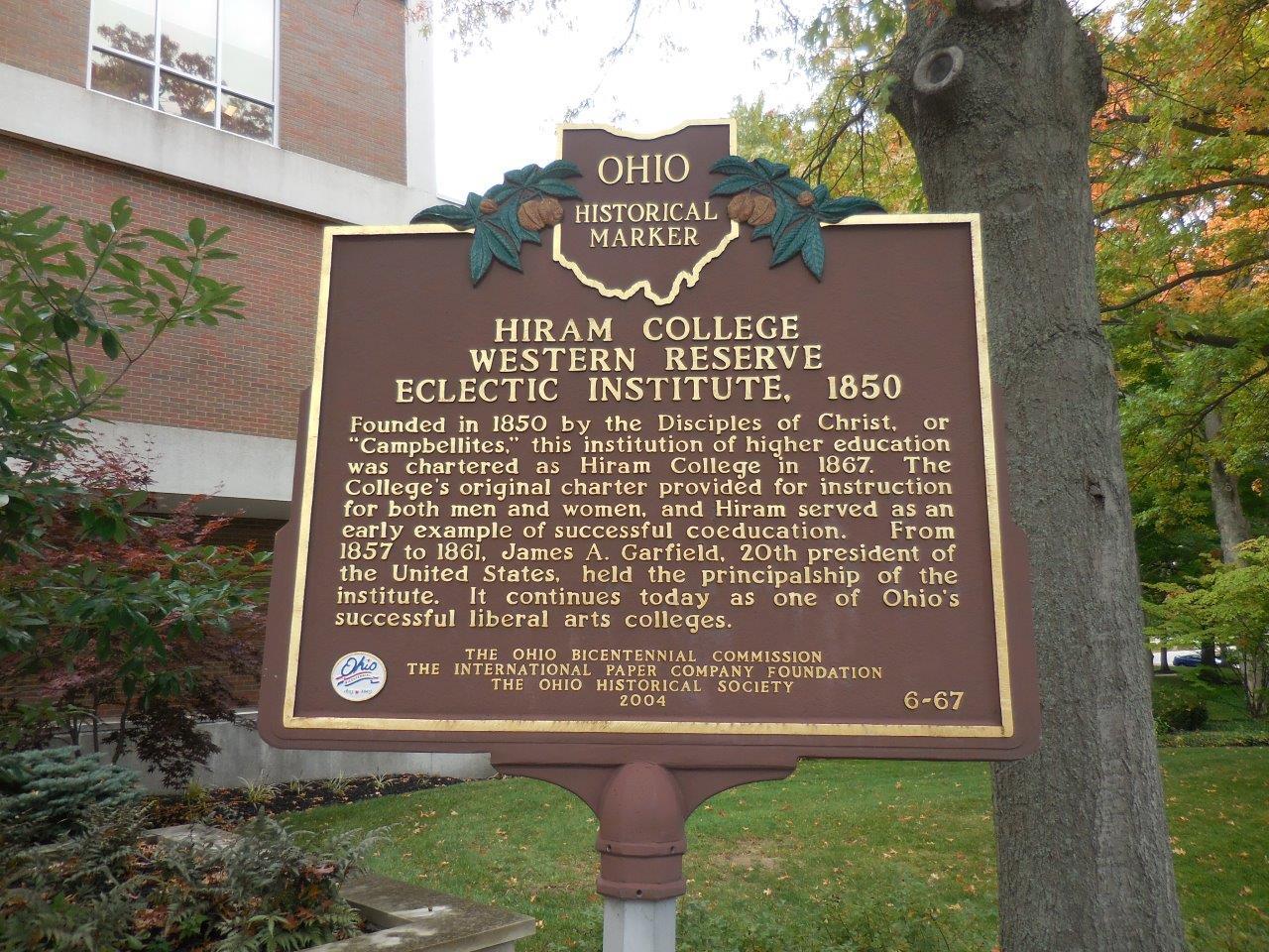 James Garfield Historical Marker at Hiram College