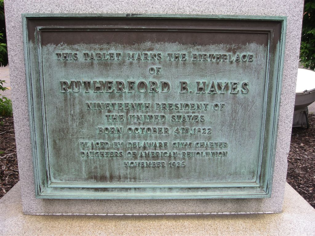 monument marking location were Rutherford Hayes was born