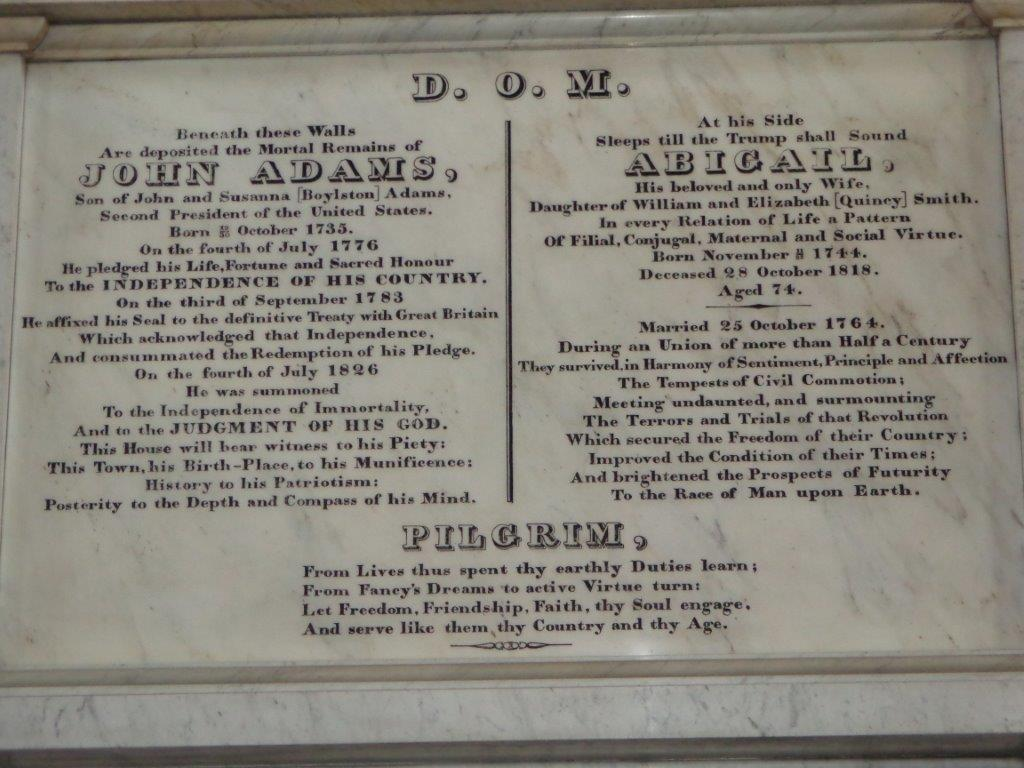 John Adams marker in church sanctuary