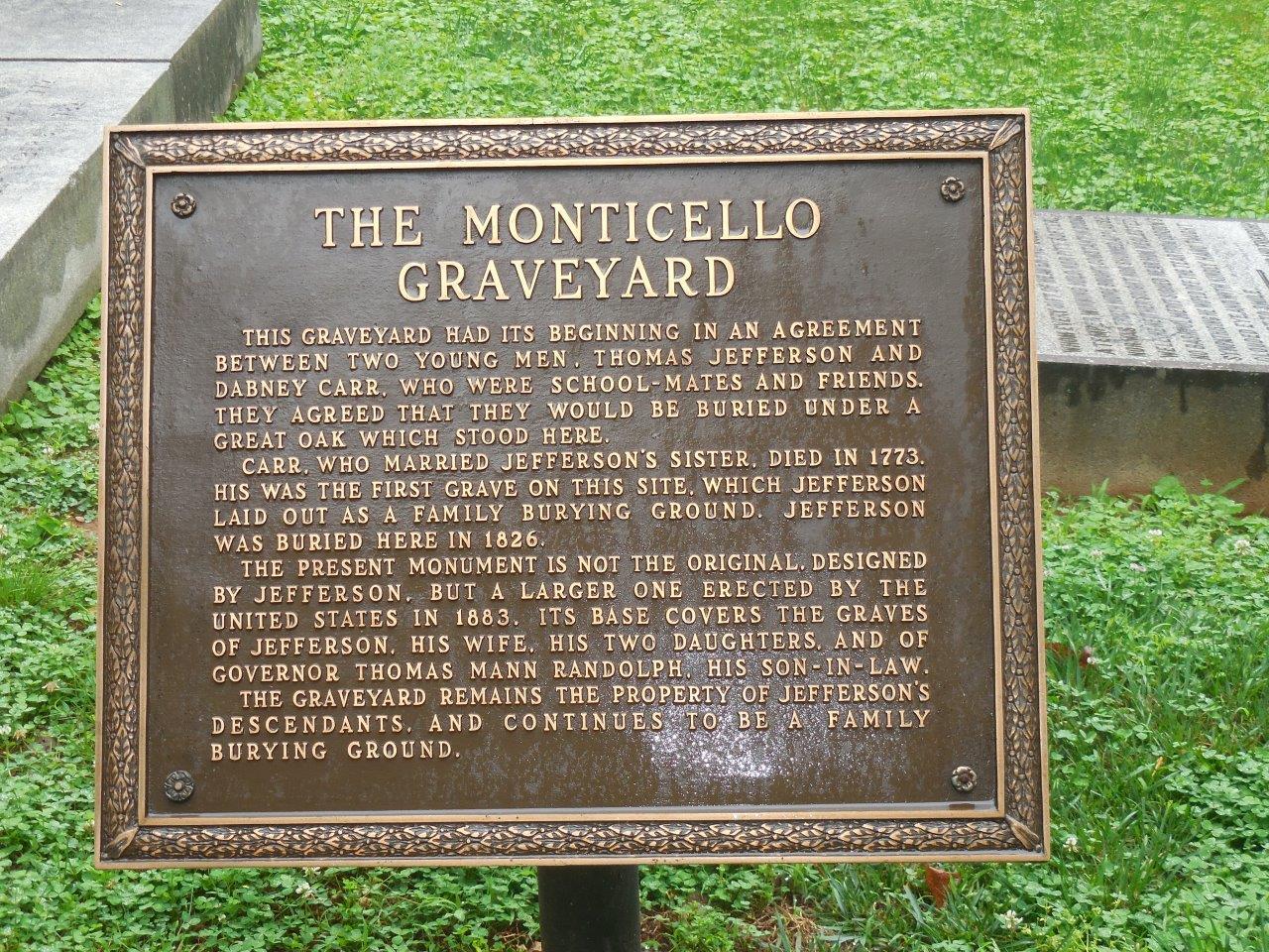 historical marker at Thomas Jefferson gravesite