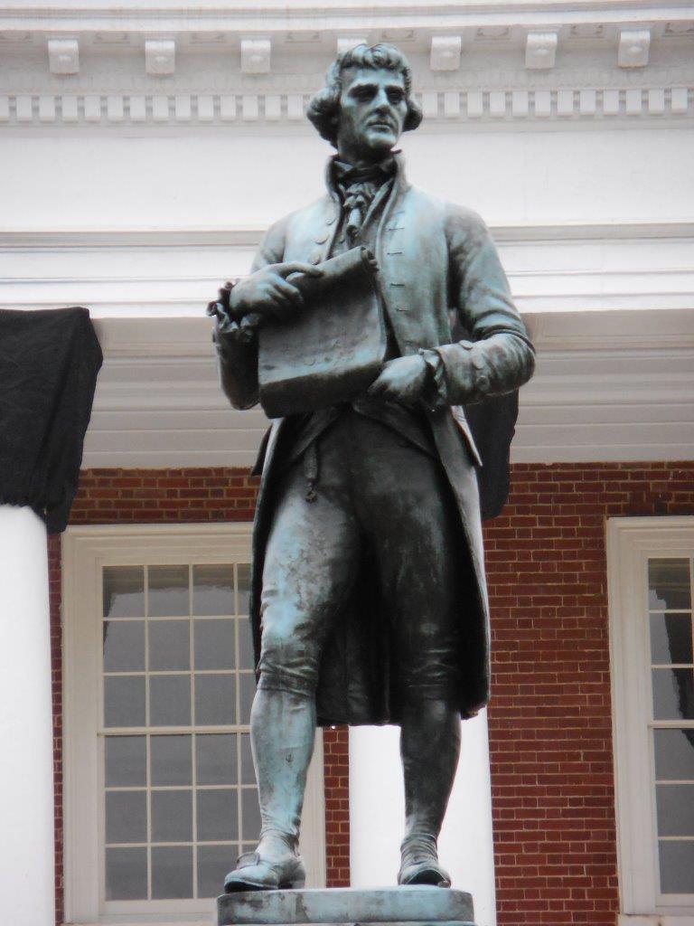 Thomas Jefferson statue at UVA in front of Rotunda