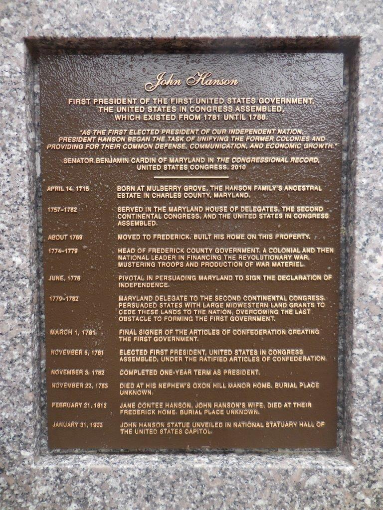 John Hanson statue in Frederick, Maryland