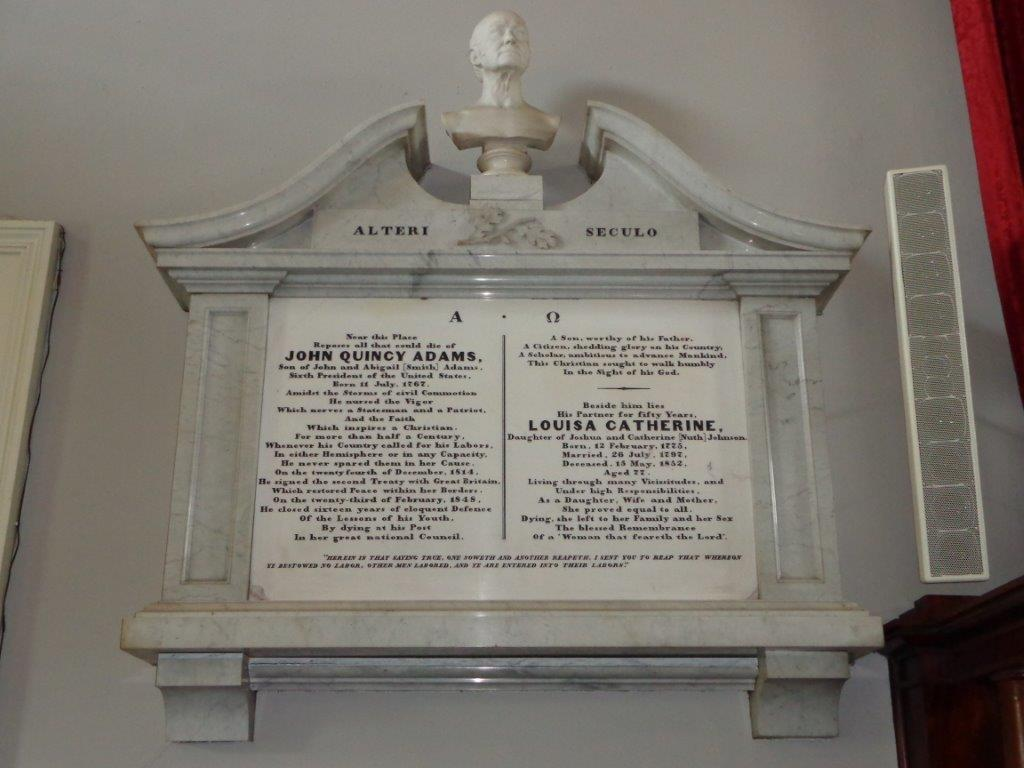 John Quincy Adams marker in church sanctuary