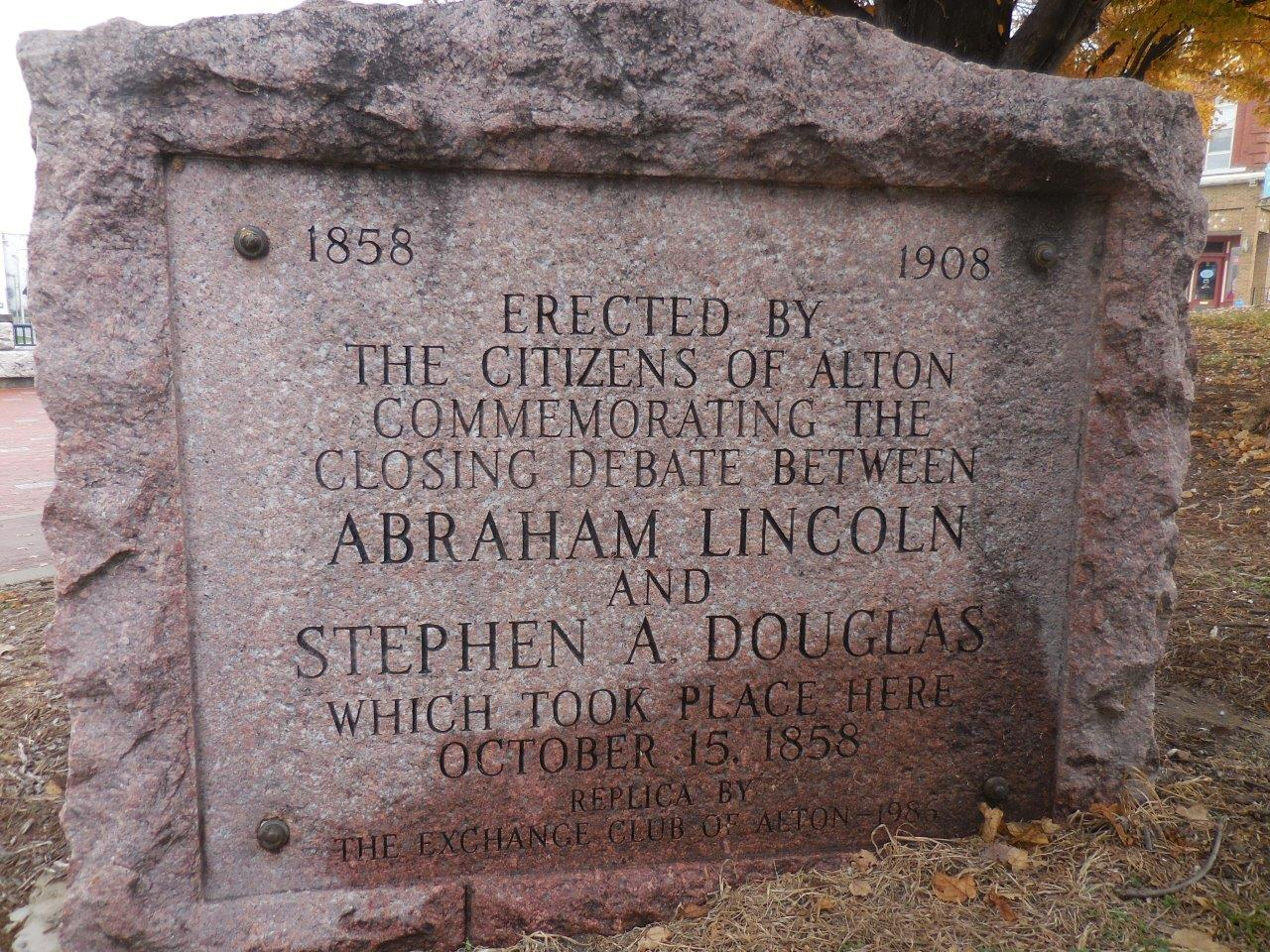 Historical marker at site of Lincoln-Douglas debate