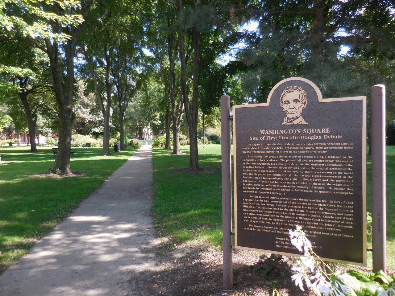 Historical marker at site of Lincoln-Douglas first debate