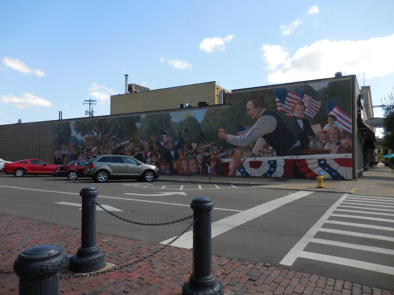 Lincoln-Douglas mural at site of first debate