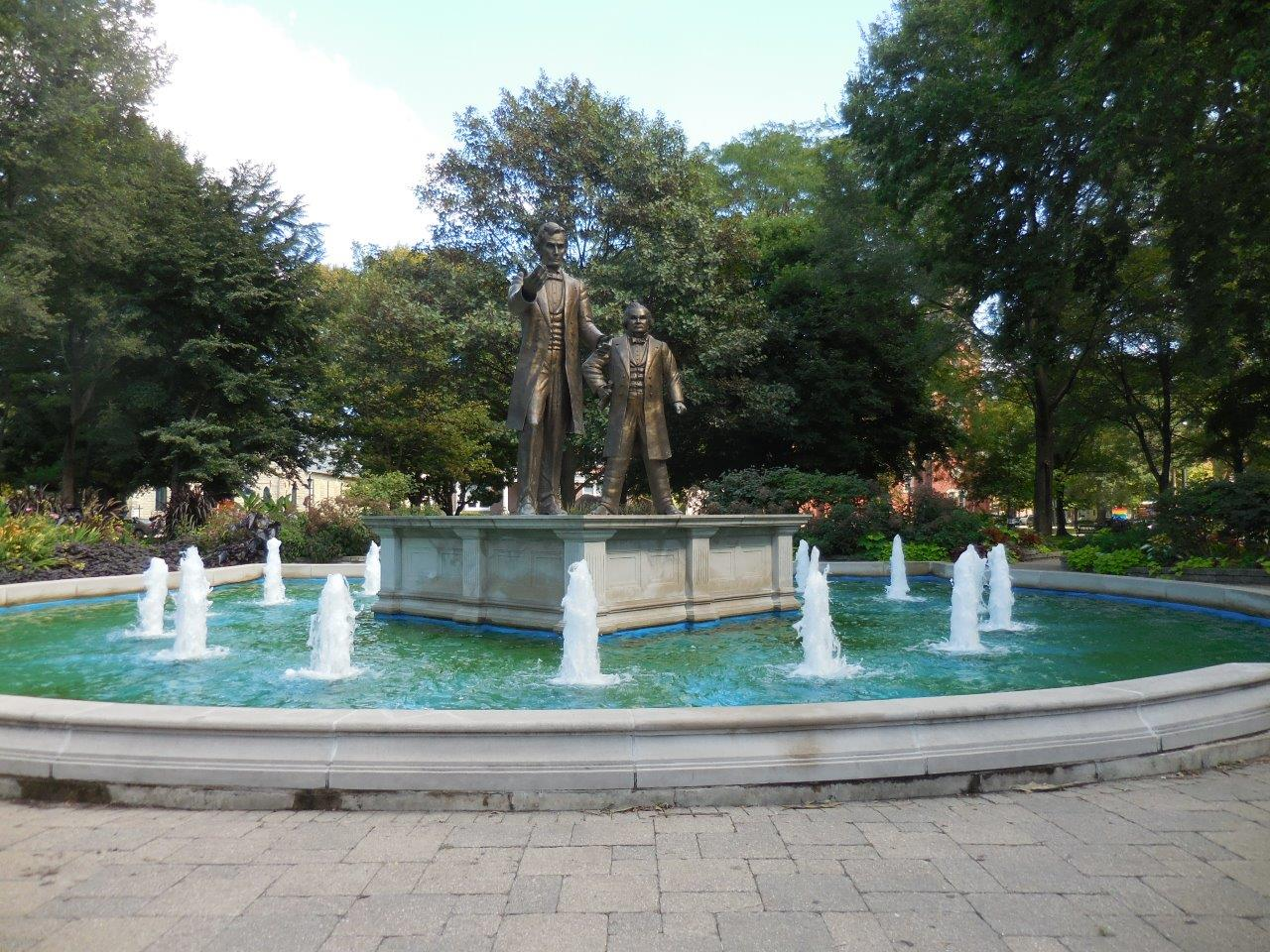 Lincoln-Douglas statue at site of first debate