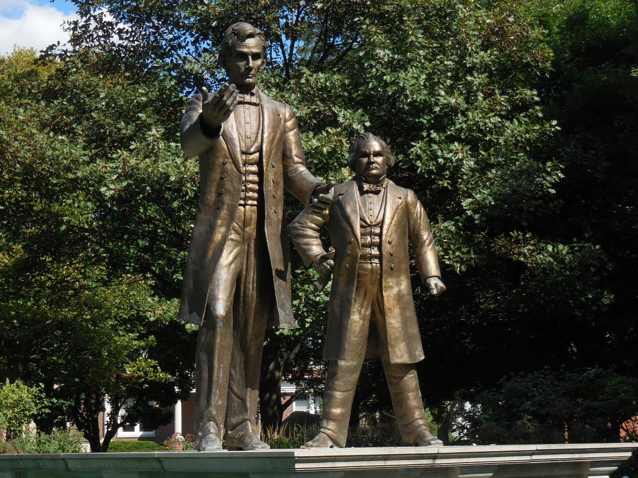Abraham Lincoln And Stephen Douglas Statue And First