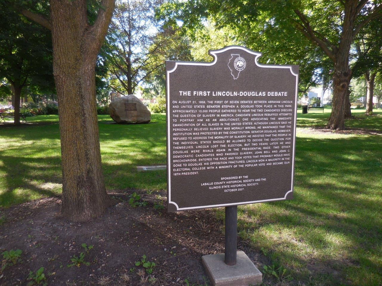 Historical marker at site of first Lincoln-Douglas debate