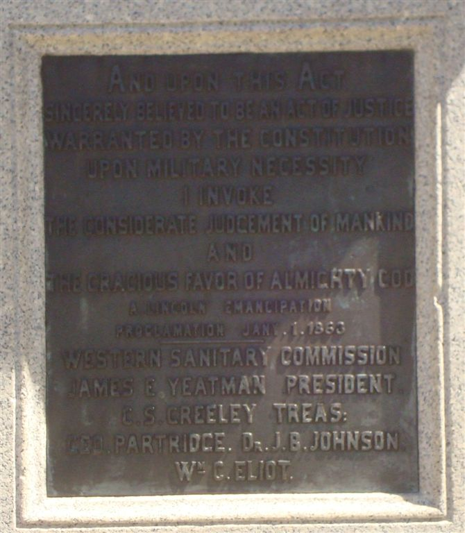 Lincoln Emancipation Monument plate