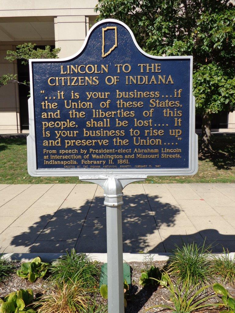 Abraham Lincoln historical marker in Indianapolis