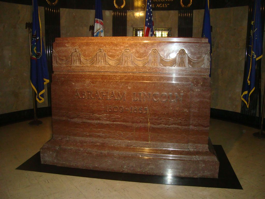 Abraham Lincoln grave stone marker inside tomb