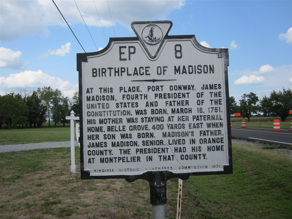 James Madison birthplace historical marker