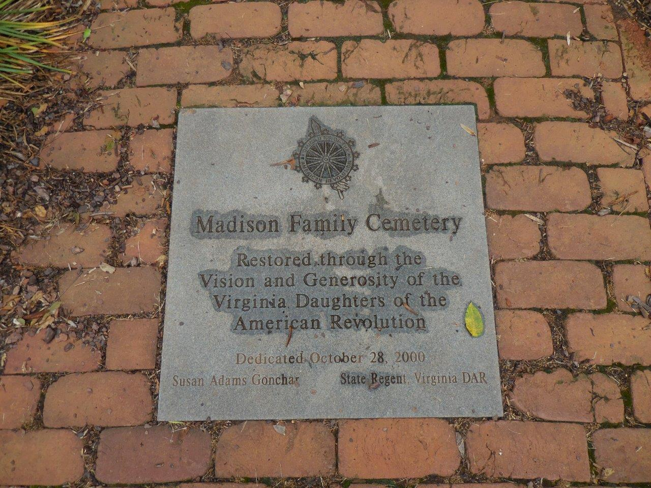James Madison family cemetery marker
