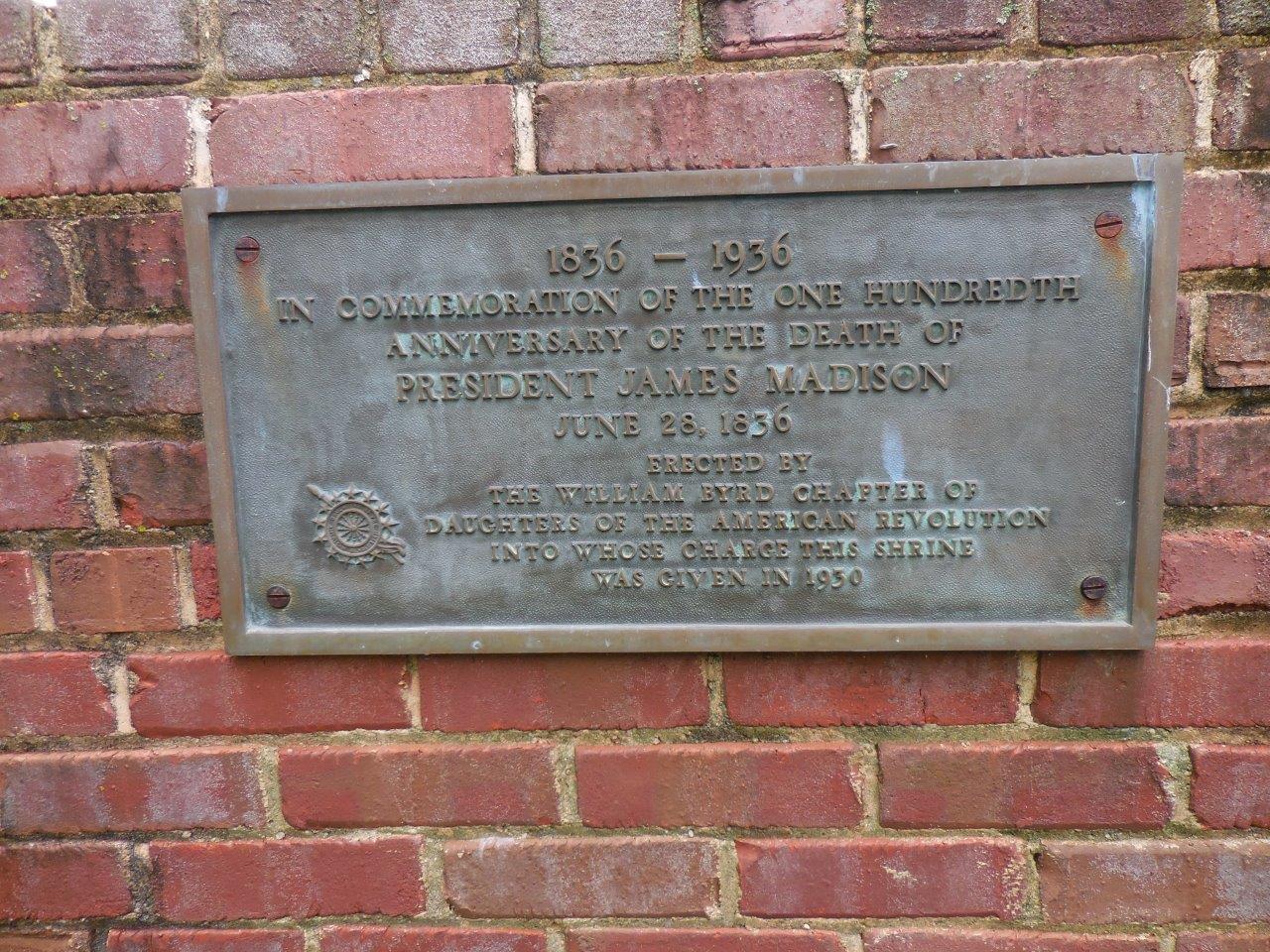 historical marker at James Madison gravesite
