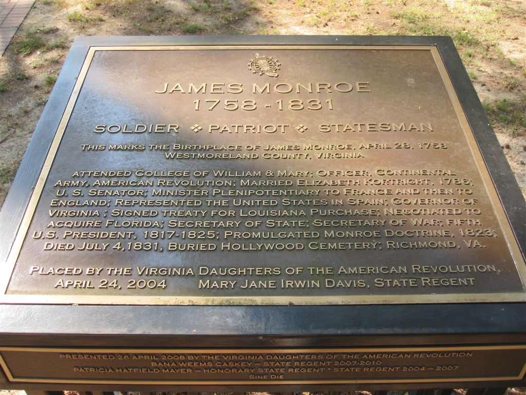James Monroe Birthplace Westmoreland County Virginia