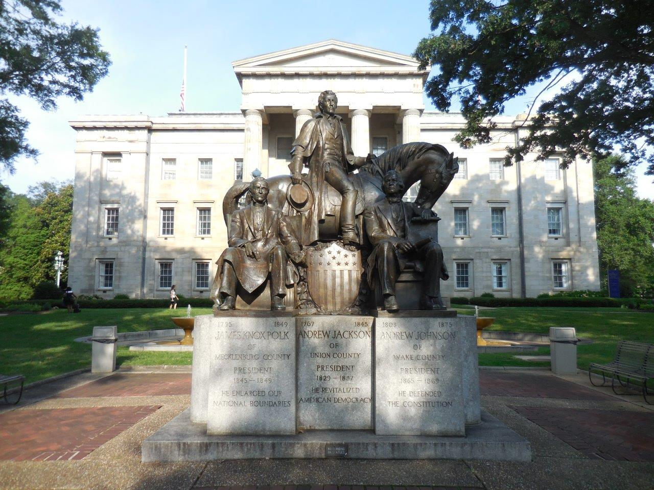 Three Presidents from North Carolina statue at North Carolina State Capitol