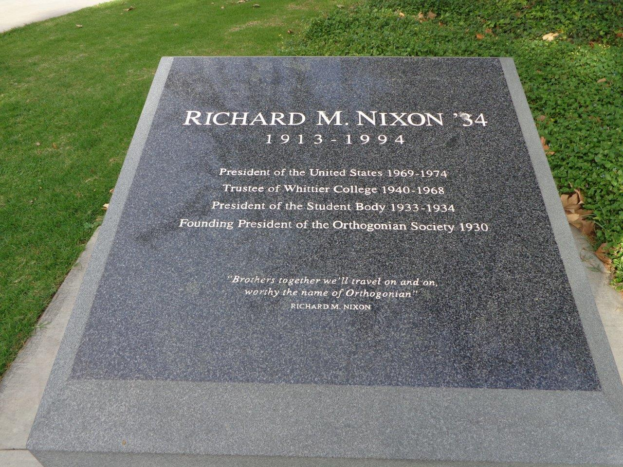 Nixon monument at Whittier College