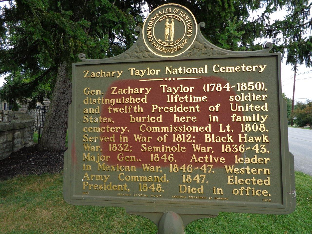 Zachary Taylor National Cemetery marker