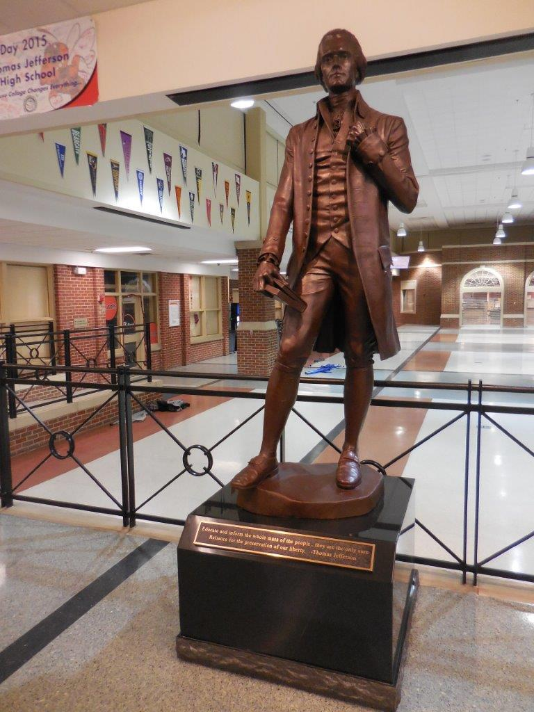 Thomas Jefferson statue at Thomas Jefferson High School in Council Bluffs, Iowa
