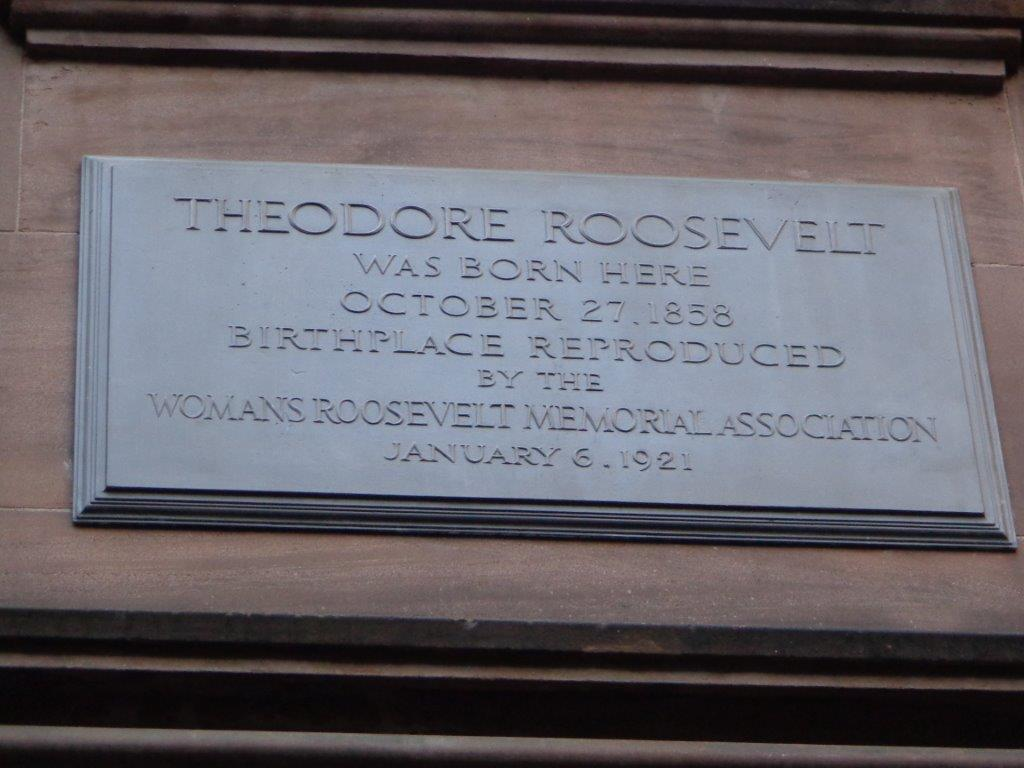 Theodore Roosevelt birthplace historical marker