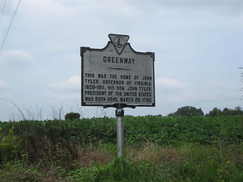 John Tyler birthplace, Greenway, historical marker