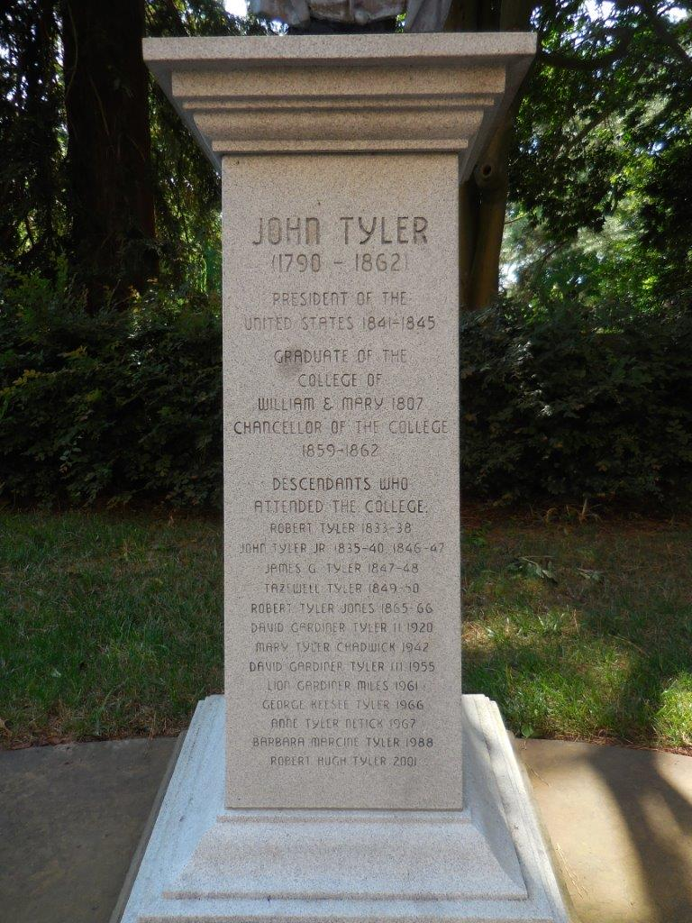 John Tyler statue at the college of William and Mary