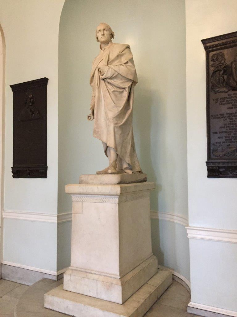 George Washington statue at Massachusetts Capitol Building in Boston