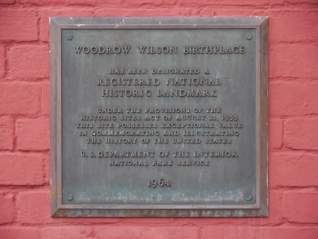 Woodrow Wilson birthplace historical marker